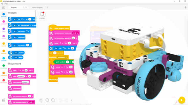 Image for Scratch (Word Blocks) program to align to a line with color sensors from LEGO Education SPIKE Prime