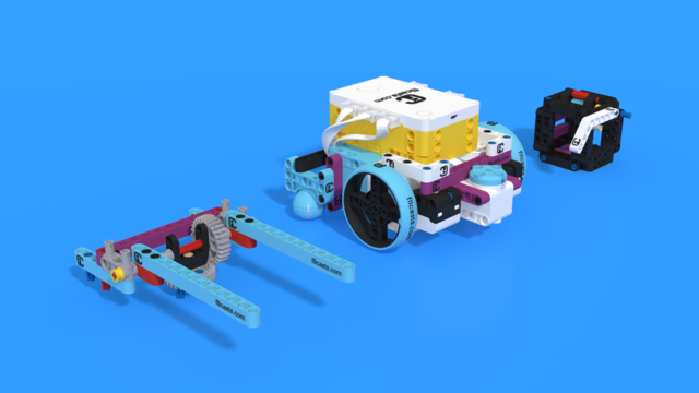 Image for How an Active attachment accomplishes a mission with a lever. Demo with Luly Box Robot from LEGO Education SPIKE Prime