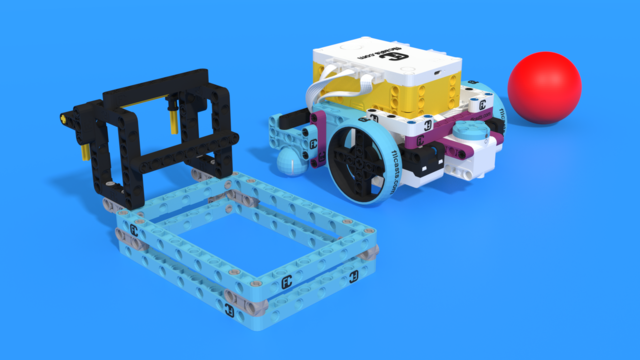 Image for How an Inertia triggered attachment collects parts. Demo with Luly Box Robot from LEGO Education SPIKE Prime