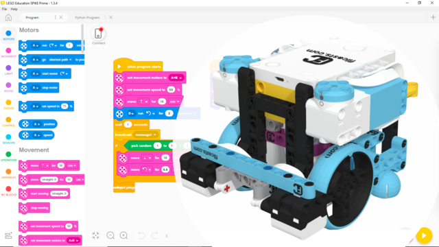 Image for Scratch (Word Blocks) program to accomplish FLL 2020 Robot Dance, with LEGO Education SPIKE Prime