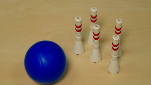Image for Rubber band attachment for throwing a ball from base - FLL 2012 Bowling