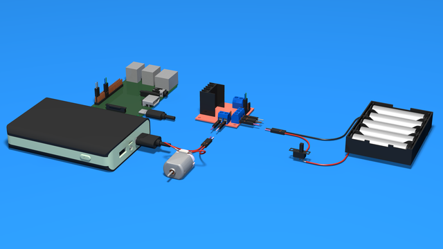 Image for How to connect Rear Motor To Motor Driver and to Raspberry PI - 3D scheme