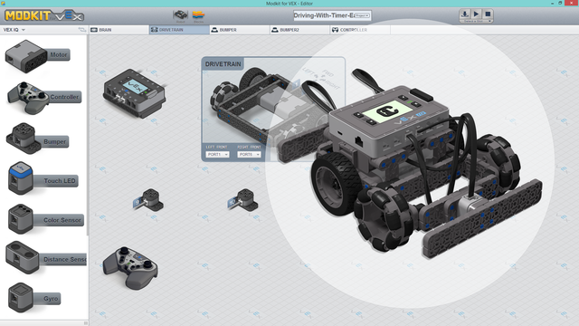 "Image for Truckie - ""Hard"" To Drive VEX IQ Program for Modkit. One stick for move and steer"